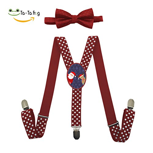 Elk Tie Backs (Custom Santa and Elk Y-Back Clip Suspender with Bowtie Set Adjustable for Kids Red)