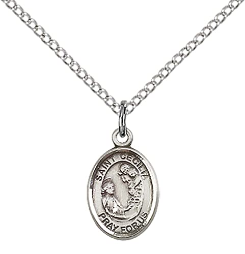 Sterling silver st cecilia pendant with 18 stainless steel lite sterling silver st cecilia pendant with 18quot stainless steel lite curb chain patron mozeypictures Choice Image