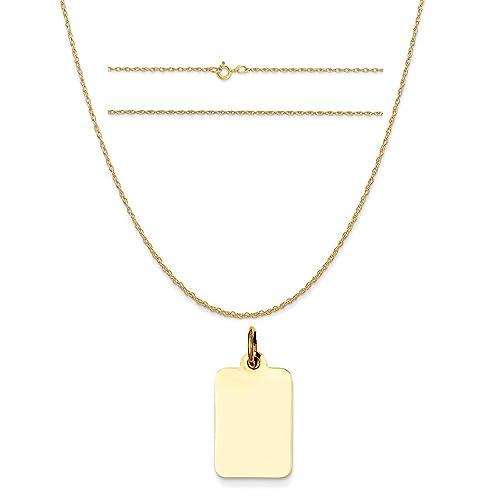 14K Yellow Gold Plain .018 Gauge Engravable Rectangular Disc Charm