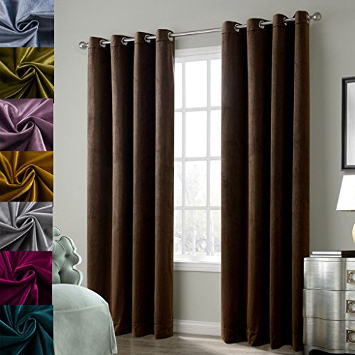 Drapery Panel Set - Cherry Home Set of 2 Blackout Velvet Drapes Room Darkening Curtains Panel Grommet Drapery, 52 by 63-Inch, Chocolate Brown(2 panels)Theater| Bedroom| Living Room| Hotel
