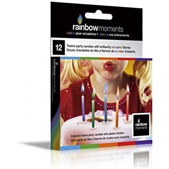 Rainbow Candles Non Toxic - Coloured Flame Birthday Candles Rainbow Moments - Party Accessory - Great Party Favors & Supplies