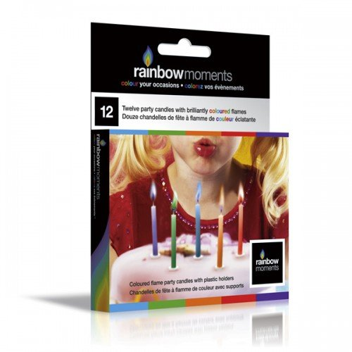Rainbow Candles Non Toxic - Coloured Flame Birthday Candles