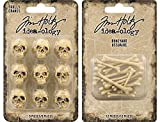 Tim Holtz 2018 Halloween - Skulls and Boneyard - 21 Miniature Resin Pieces
