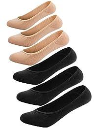 Women's No Show Liner Socks 6 Pairs Ultra Low Cut Nylon...