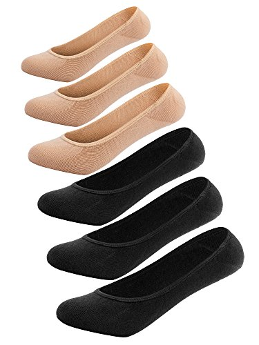No-Show Socks for Women, Thin Low Cut Socks Loafer Liner Anti Slip Heel Black+Beige, One Size