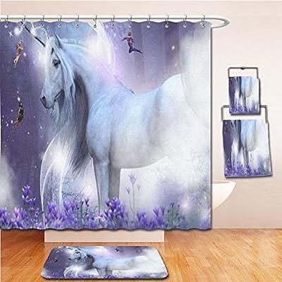 LiczHome Bath Suit: Showercurtain Bathrug Bathtowel Handtowel Fantasy Landscape Home Decor Art Majestic Unicorn Little Fairies Art Sets