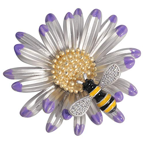 Szxc Daisy Flower Honey Bee Brooch Pin Enamel Crystal Jewelry for Her Women