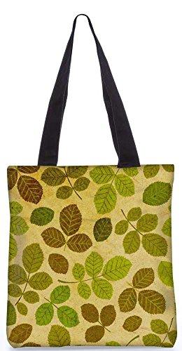 """Snoogg Grüne Blätter-Muster-Einkaufstasche 13,5 X 15 In """"Einkaufstasche Dienstprogramm Trage Aus Polyester Leinwand"""