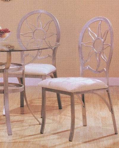 Set of 4 Modern Silver Finish Dining Chair/Chairs with Cushion Seats Review