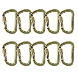 Fusion Climb Tacoma Steel Screw Lock Gate Modified D-shaped Carabiner Gold 10-Pack