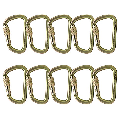 Fusion Climb Tacoma Steel Screw Lock Gate Modified D-shaped Carabiner Gold 10-Pack by Fusion Climb