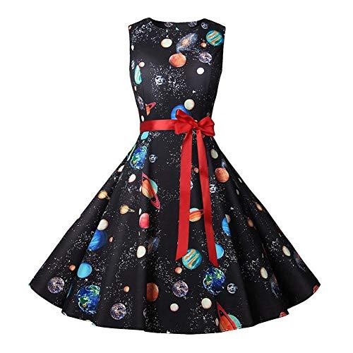 iBelly Halloween Christmas Dress Women Vintage Round Neck Sleeveless Evening Dress Swing Cocktail Party Dress