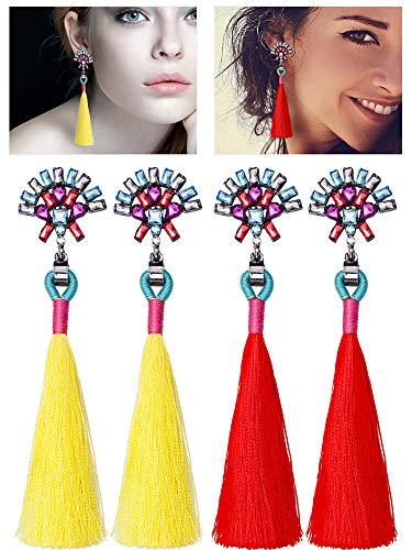Tatuo 2 Pairs Rhinestone Tassel Drop Earrings Crystal Tassel Dangle Stud Fringe Ear Clips for Women ()