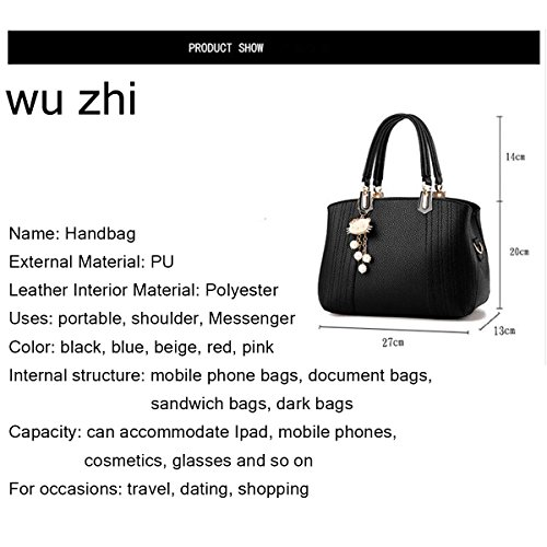 WU ZHI Ladies Wild Bag Borsa Grande Borsa A Tracolla Messenger Bag Portable Pink