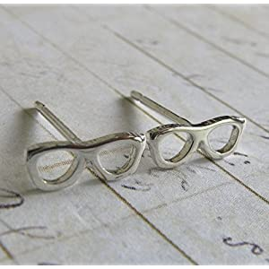 Eye Glasses tiny stud earrings polished sterling silver geek jewelry. Optician gift. Handmade in the USA.