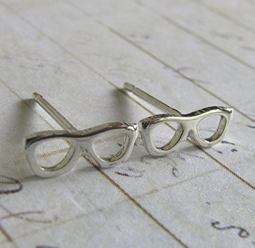 Eye Glasses tiny stud earrings polished sterling silver geek jewelry. Optician gift. Handmade in the - Usa Eyeglass