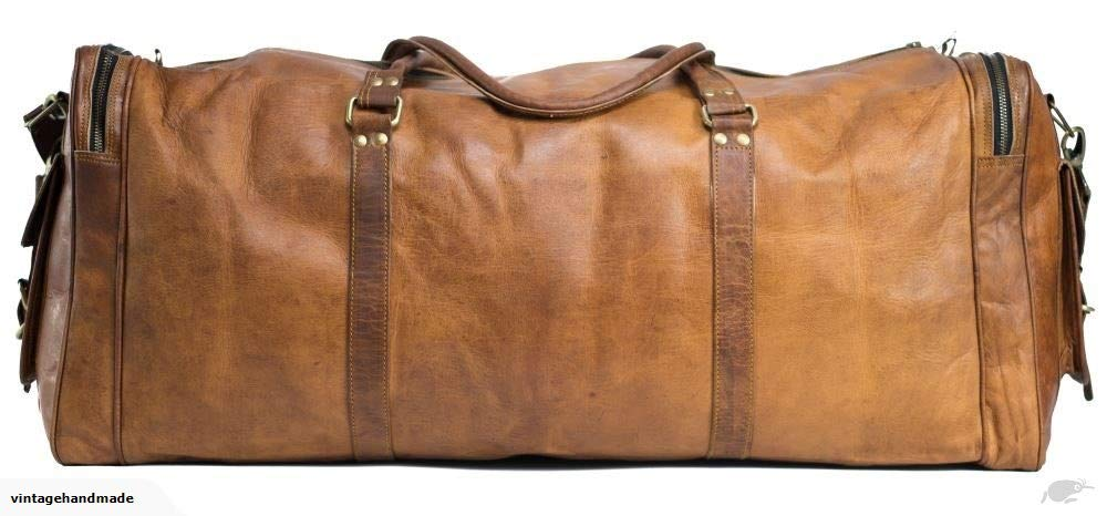 838609546a0c KKs 30 Inch Real Goat Leather Large Handmade Travel Luggage Bags in Square  Big Bag Carry