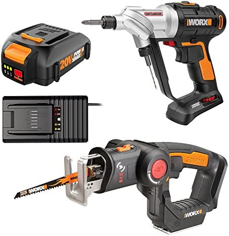 Worx WO7043 20V Switchdriver Drill Driver and Axis 2-in-1 Recip Jigsaw Combo Kit