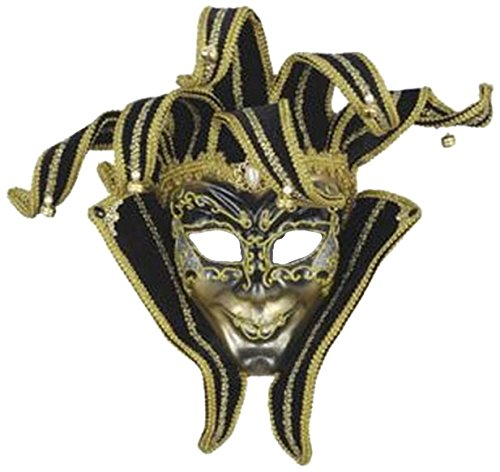 Forum Novelties Men's Venetian Style Jester Mask, Gold/Black, One Size