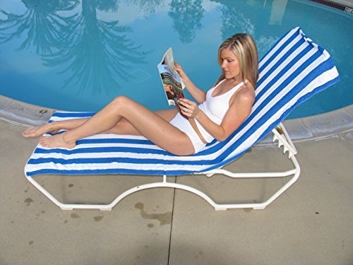 Ashford Textiles Cabana Style Chaise Lounge Cover with Pocket (Blue Stripes) by Ashford Textiles