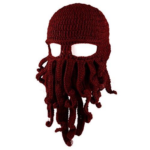 A14 ECYC® Knit Esquí Vino De Sombrero Tentacle MáScara Beanie tinto Octopus Funny Viento Cap rxwr7vP