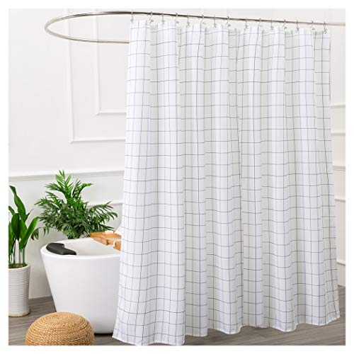 Aimjerry Mold Resistant Fabric Shower Curtain for Bathroom Black and White,Washable STALL Size 72 X 72 Inch