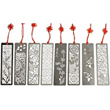 Metal Bookmarks 8 Pcs Hollow Art Stainless Steel Book Mark With Red Enless Knot By GOCROWN