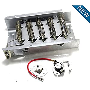PS334313 - Heavy Duty Clothes Dryer Replacement Heating Element for Whirlpool Kenmore Maytag Roper KitchenAid Estate Sears Magic Chef Amana Admiral Includes PS334299 Thermostat kit