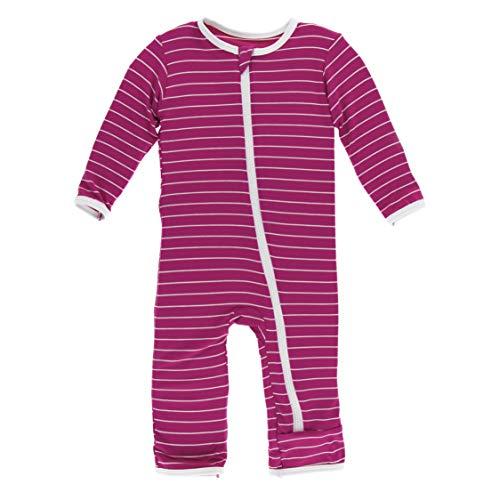Kickee Pants Little Girls Print Coverall Zipper - Tokyo Dragonfruit Stripe, 12-18 ()