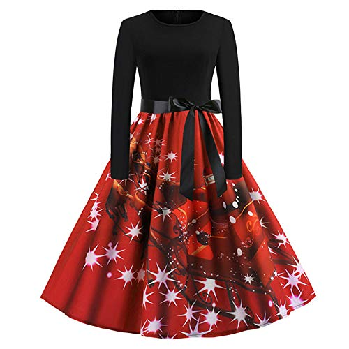 ntage Long Sleeve Waist Tie-up Dresses Christmas Print Evening Party Swing Dress with Belt(RedC,L) ()