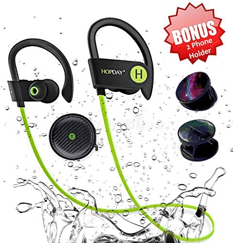 Bluetooth Headphones – Waterproof Sports Earphones – HD Stereo – Sweatproof Earbuds – Adjustable Ear – Hooks with Carrying Case by SAKAcare with Noise Cancelling – 10 Hour Workout.