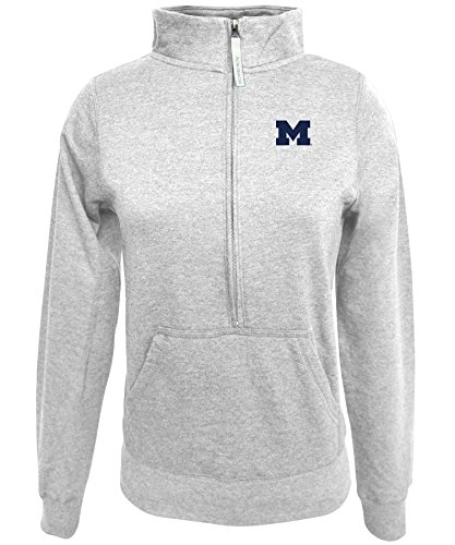1/2 Zip Fleece Top (NCAA Michigan Wolverines Women's 1/2 Zip 50/50 Fleece Top, Gray, Large)