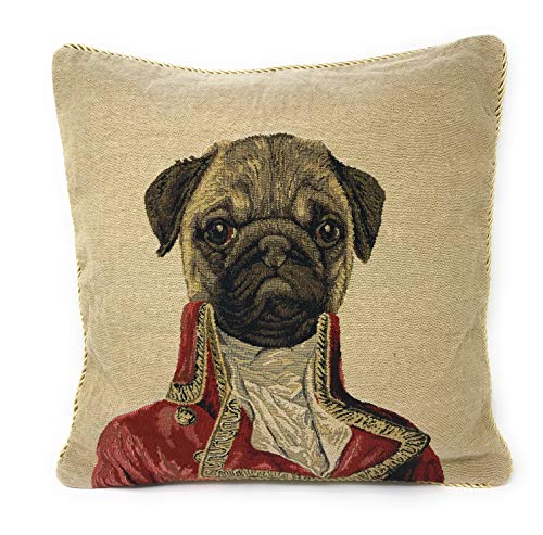 Tache 1 Piece 18 X 18 Inch Square French Vintage European Napoleon Bownparte Woven Tapestry Cushion Pillow Throw Cover (Pillow Dog Tapestry)