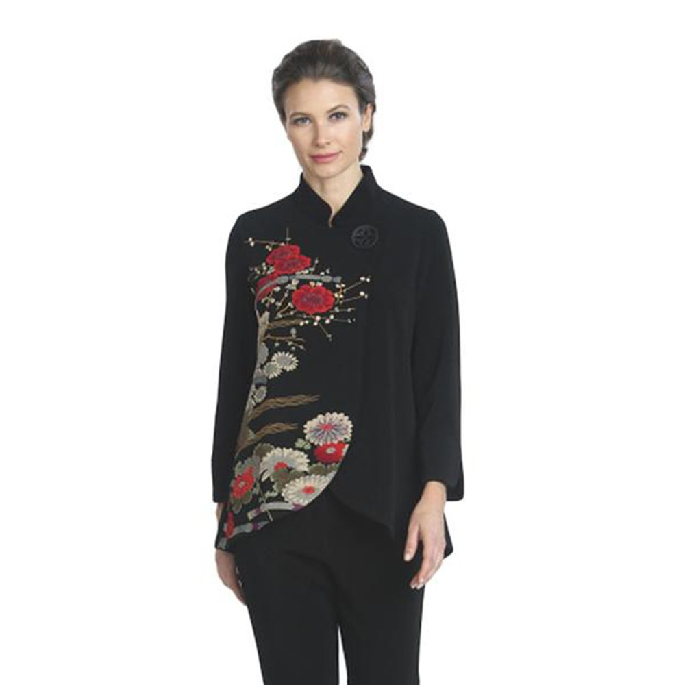 IC Collection Tulip Hem Floral Print Jacket - 1014J (Medium)