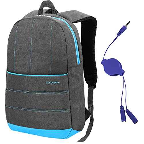 Grey VanGoddy Grove Laptop Backpack for Acer Aspire F 15 15.6 inch Laptop + Retractable 3.2' Headphone Splitter Cable (Grey/Sky Blue)