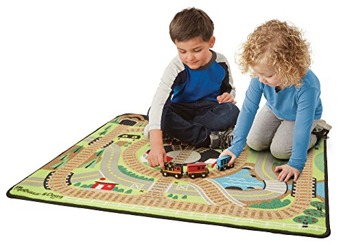 the Rails Train Rug With 3 Linking Wooden Train Cars  (39 x 36 inches) (Activity Carpet)