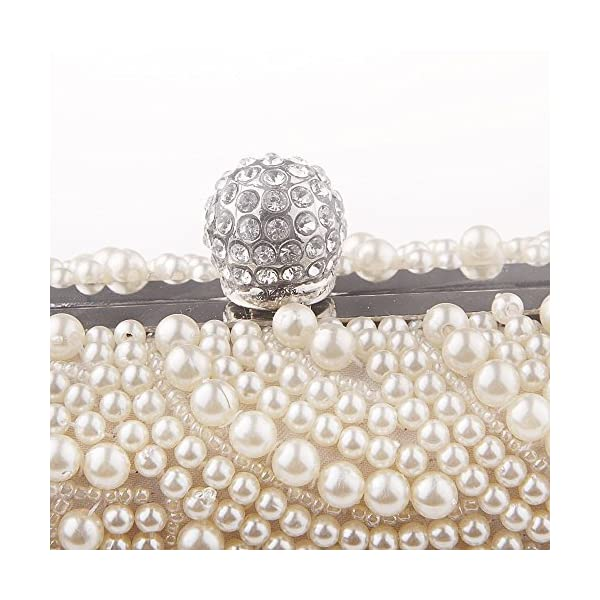 Neevas Fashion Two Chains Women Pearl Evening Bag Clutch Gorgeous Bridal Wedding Party