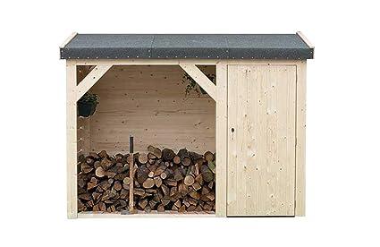 Cobertizo León de madera Picea macizas | cabaña Jardín con techo cartón | Caseta pequeño Natural