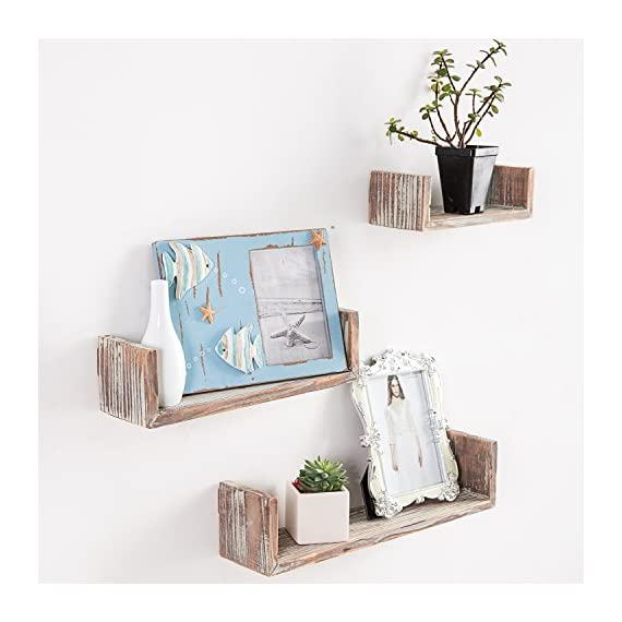 MyGift Wall Mounted Torched Wood U-Shaped Floating Shelves, Set of 3 - Set of 3, Decorative wall mounted wooden shelving display with rustic torched whitewash finish. Features three various sizes of U-shaped shelves for displaying photos, collectibles, books, potted plants and much more Can easily be mounted on any wall with proper mounting hardware. - wall-shelves, living-room-furniture, living-room - 51XJzSekDzL. SS570  -