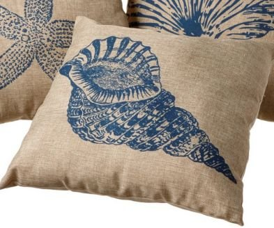 Coastal Faux Burlap Accent Pillow - 20-in x 20-in (Conch)