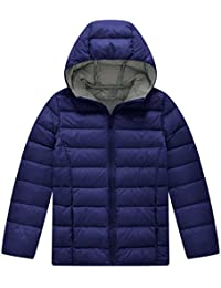 Wantdo Boy's Hooded Down Jacket Lightweight Packable Down Coat