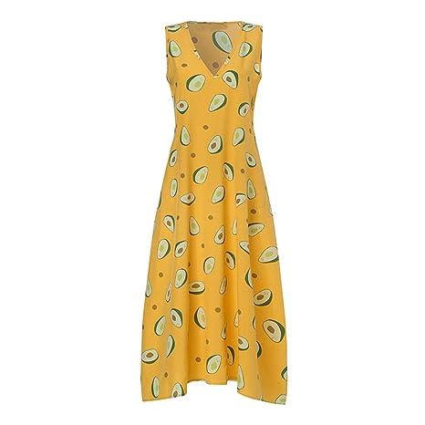 Vestidos Largos Verano Mujer ღSUNNSEANღ Traje de Vestir Estampado Floral Elegante Moda Casual Vestidos Boho Bohemia Vintage Transpirable Vestidos sin ...