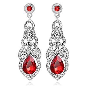 Crystal Drop Earrings For Women Rhinestone Teardrop Chandelier Dangle Earrings Sapphire Cubic Zirconia Statement Stud…
