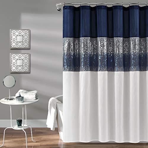 Lush Decor Night Sky Shower Curtain | Sequin Fabric Shimmery Color Block Design for Bathroom, x 72