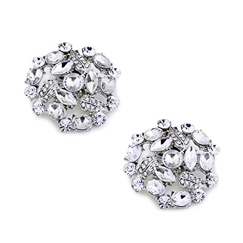 Small Rhinestone Buckles (ElegantPark AM Women Rhinestones Decoration Wedding Party Shoe Clips 2 Pcs)
