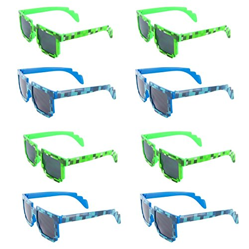 MJ Eyewear Camo Block Sunglasses Pixelated Party Favors - Fits Most Kids and Adults (12 Pack (Blue & Green Mixed), - Arnett Sunglasses