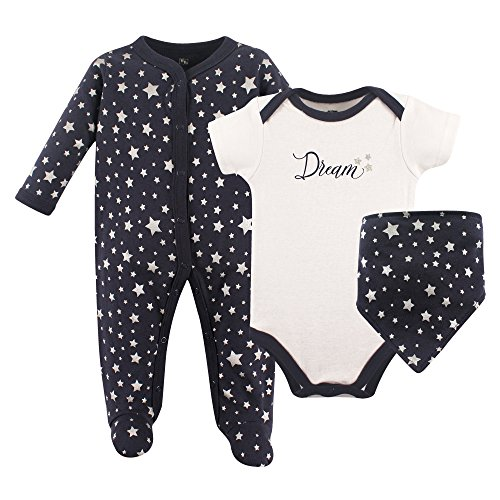 Hudson Baby Sleep and Play, Bodysuit and Bandana Bib Set, 3 Piece, Dream, 0-3 Months