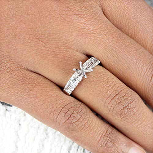 Genuine 0.27 Ct. Baguette Diamond Mount Ring Solid 14k White Gold Wedding Fine Jewelry Gifts for Women