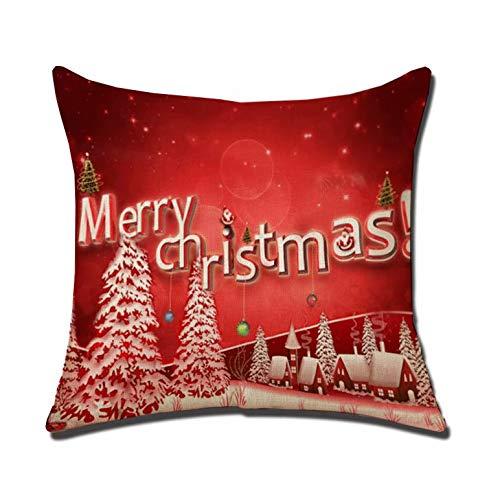 Funda de cojín de Navidad, de lino, diseño cuadrado