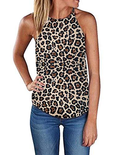 (Sherosa Women's Casual Spaghetti Strap Floral Print Tank Tops Camis Shirt (S, 01 Leopard-2))